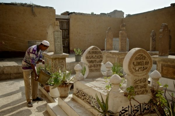 I cenotafi diventano comodi rialzi per vasi e piante da giardino