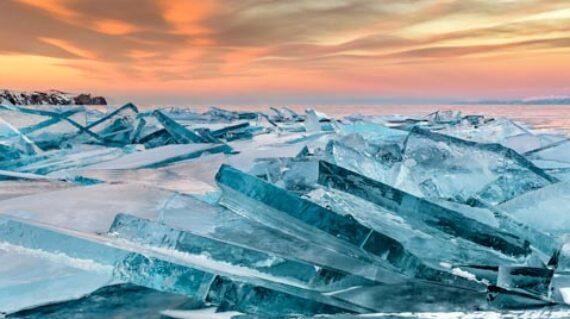 Baikal ice on sunset